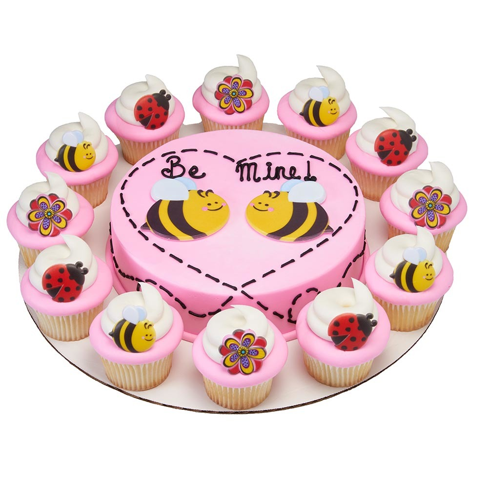 """Be Mine"" Bee Cuties Layons Cake and Ring Cupcake Combo"