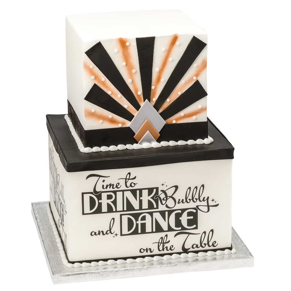 Black & Gold New Year Stacked Cake Design