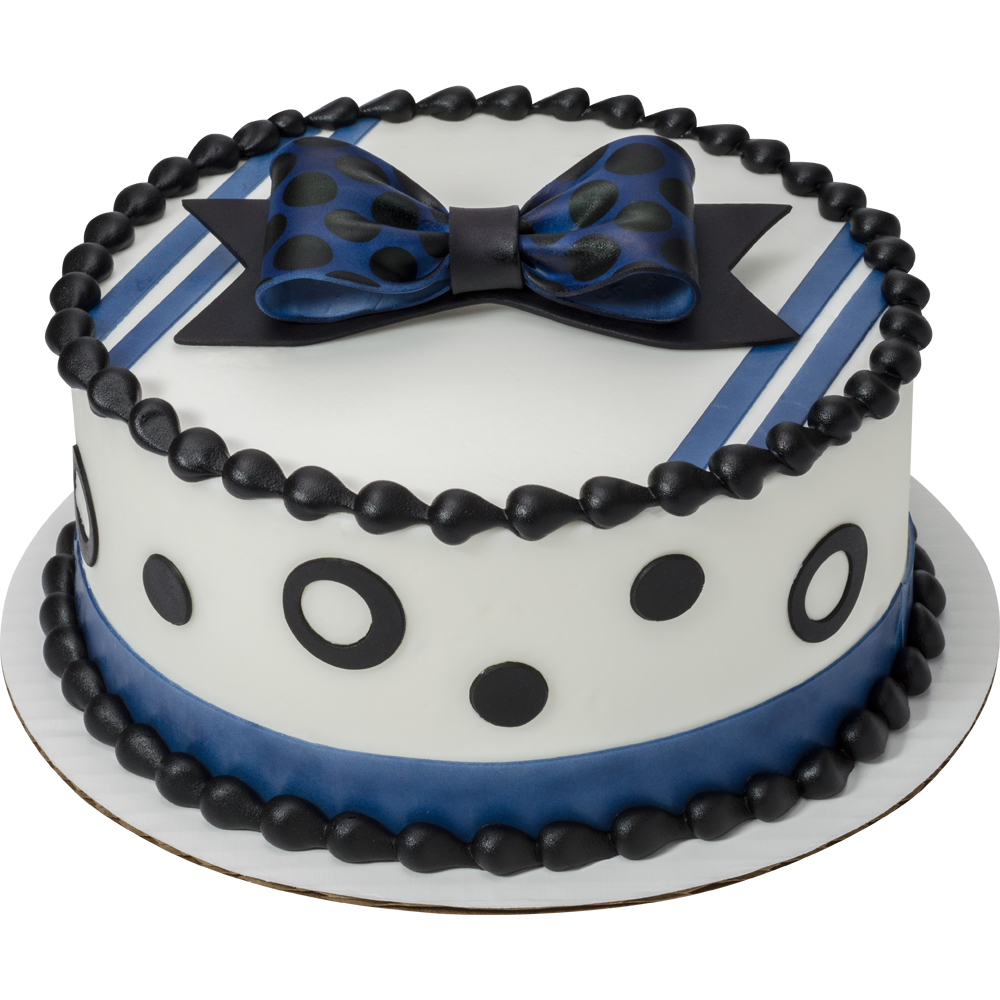Black Polka Dot DecoShapes and Gum Paste Bow Round Cake Design