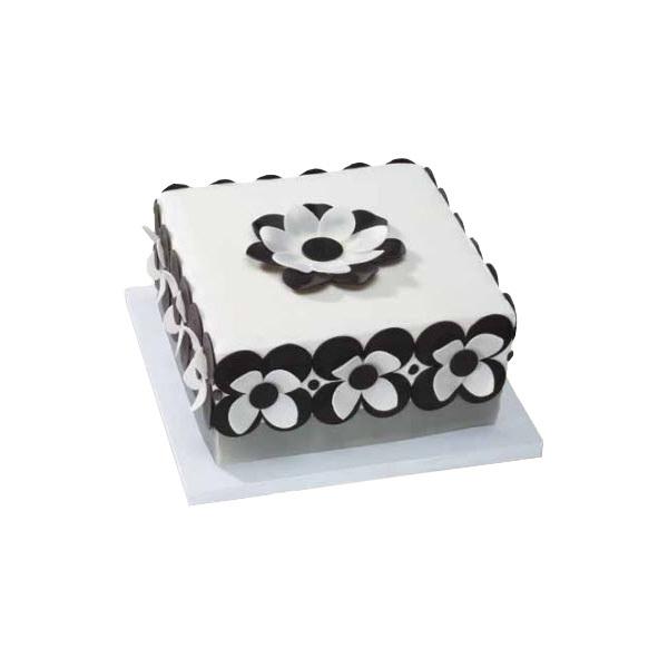 Black & White Fondant Dot Flower Cake Design