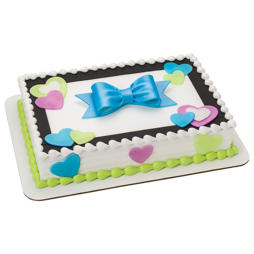 Blissful Hearts DecoShapes and Gum Paste Bow 1/4 Sheet Cake