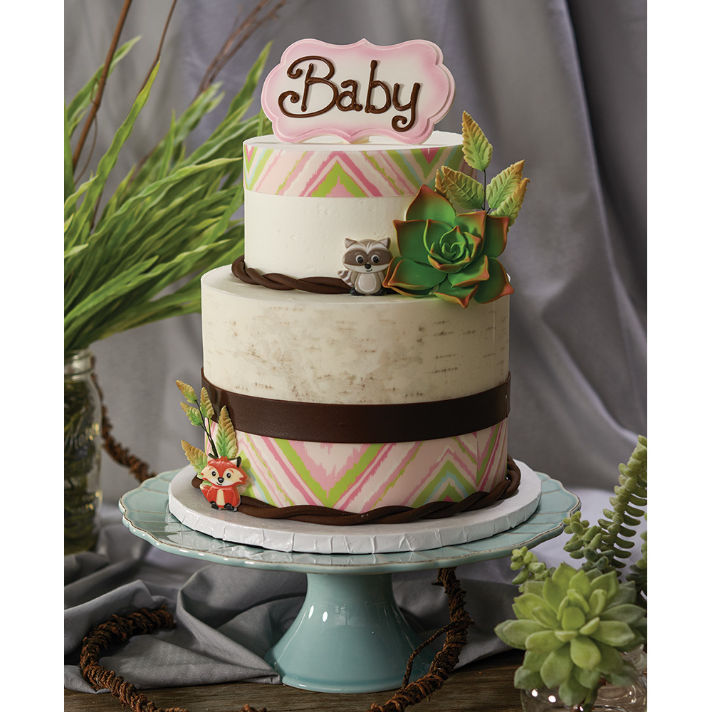Boho Baby Shower 2 Tier Cake Design Decopac