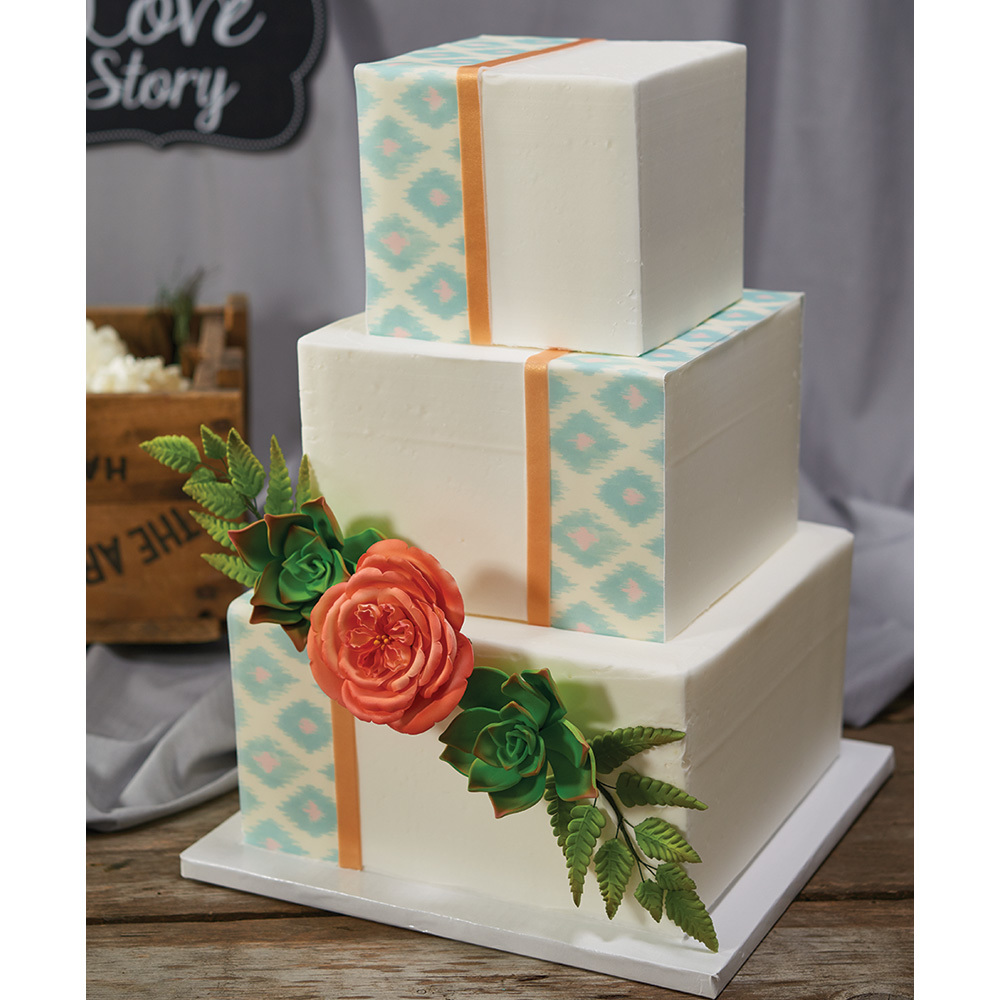 Boho Wedding 3-Tier Cake Design