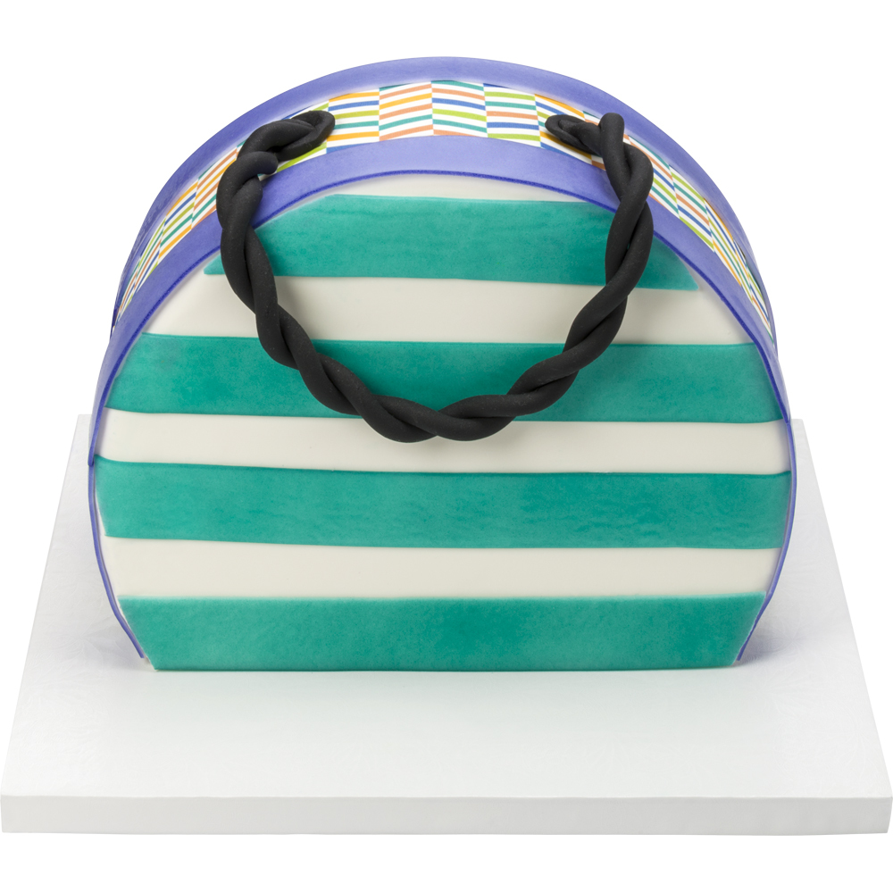 Bright and Striped Purse Cake Design