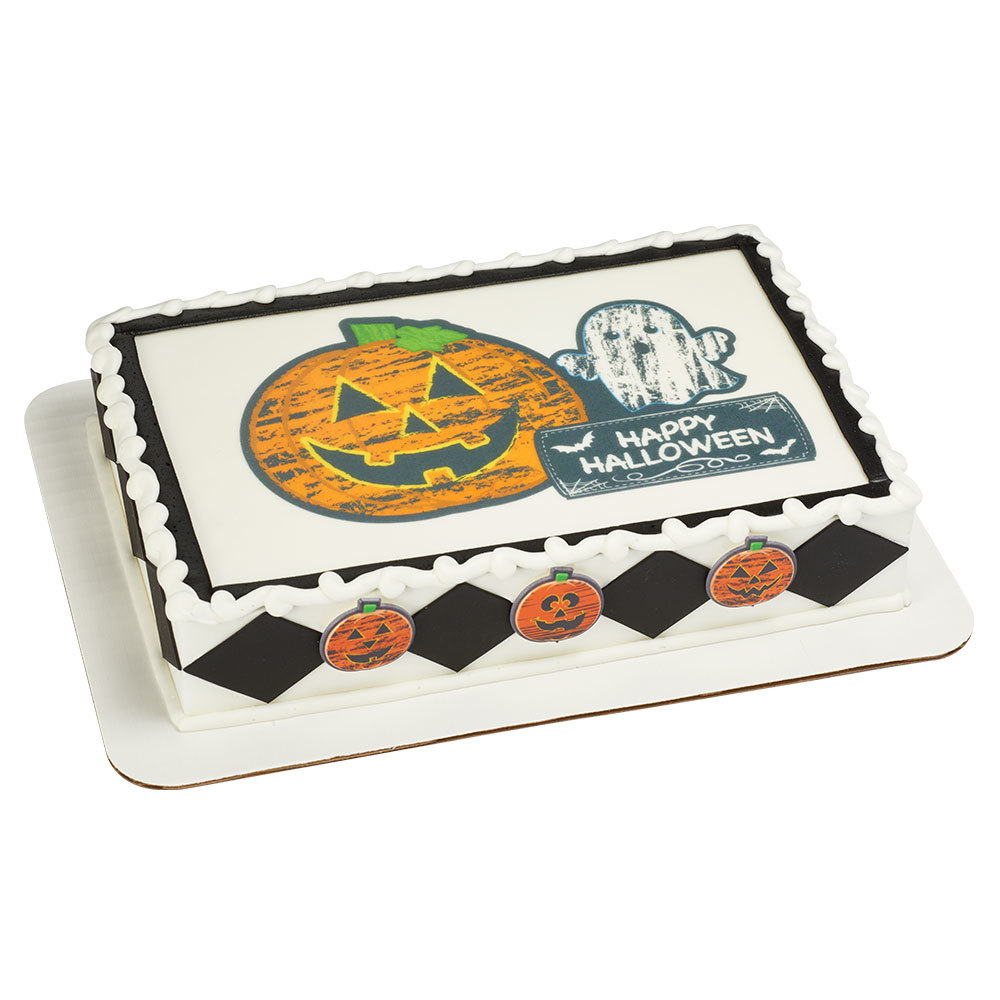 Chalkboard Halloween 1/4 Sheet Cake Design