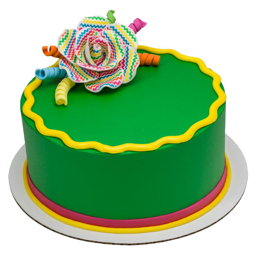 Chevron Gum Paste Rose Round Cake Design