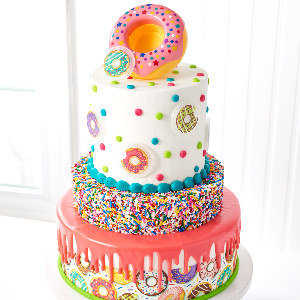 Astounding Donut Decoset Stacked Cake Design Decopac Personalised Birthday Cards Rectzonderlifede