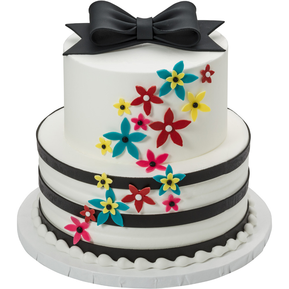Elegant Flowers Cut-Outs 2-Tier Round Cake Design