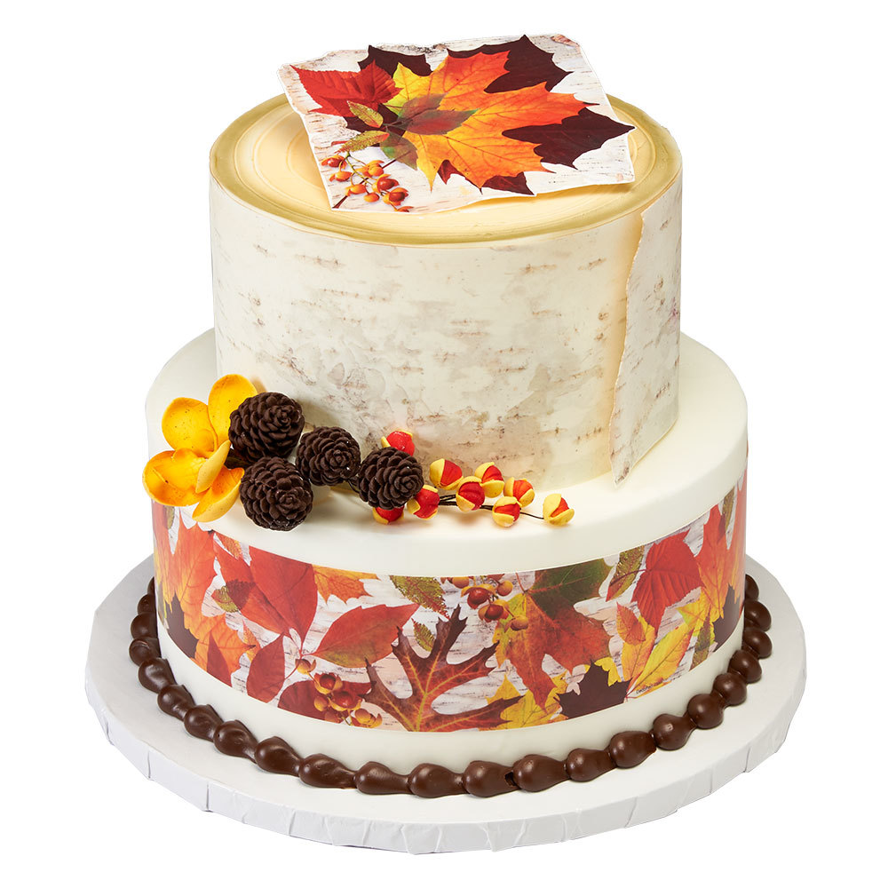 Fall Leaves Stacked Cake Design