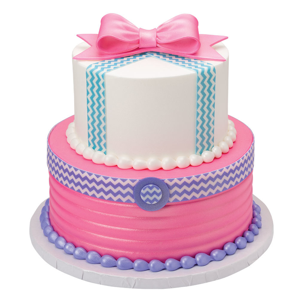 Fashionista DecoShapes and Gum Paste Bow 2-Tier Cake Design
