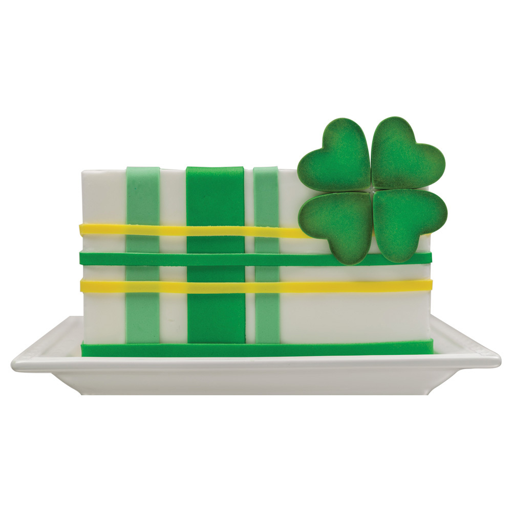 Fondant Shamrock & Stripes Square Cake Design