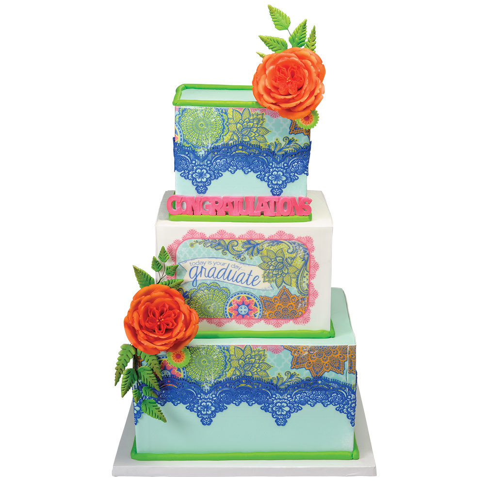 Boho 3-Tier Graduation Cake Design