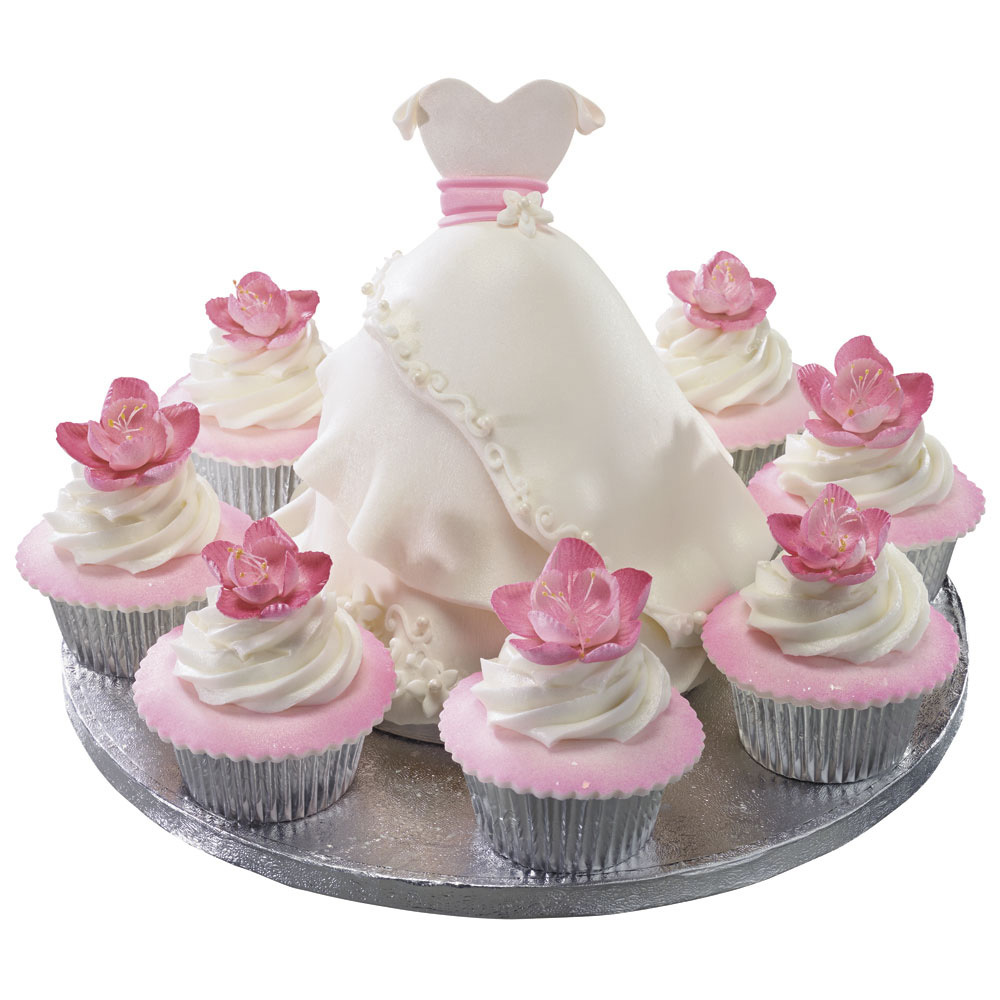 Formal Dress And Blossoms Cake And Cupcakes