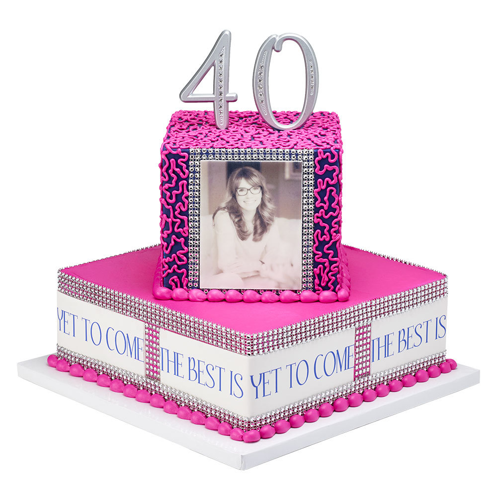 Fortieth Birthday Stacked Cake Design