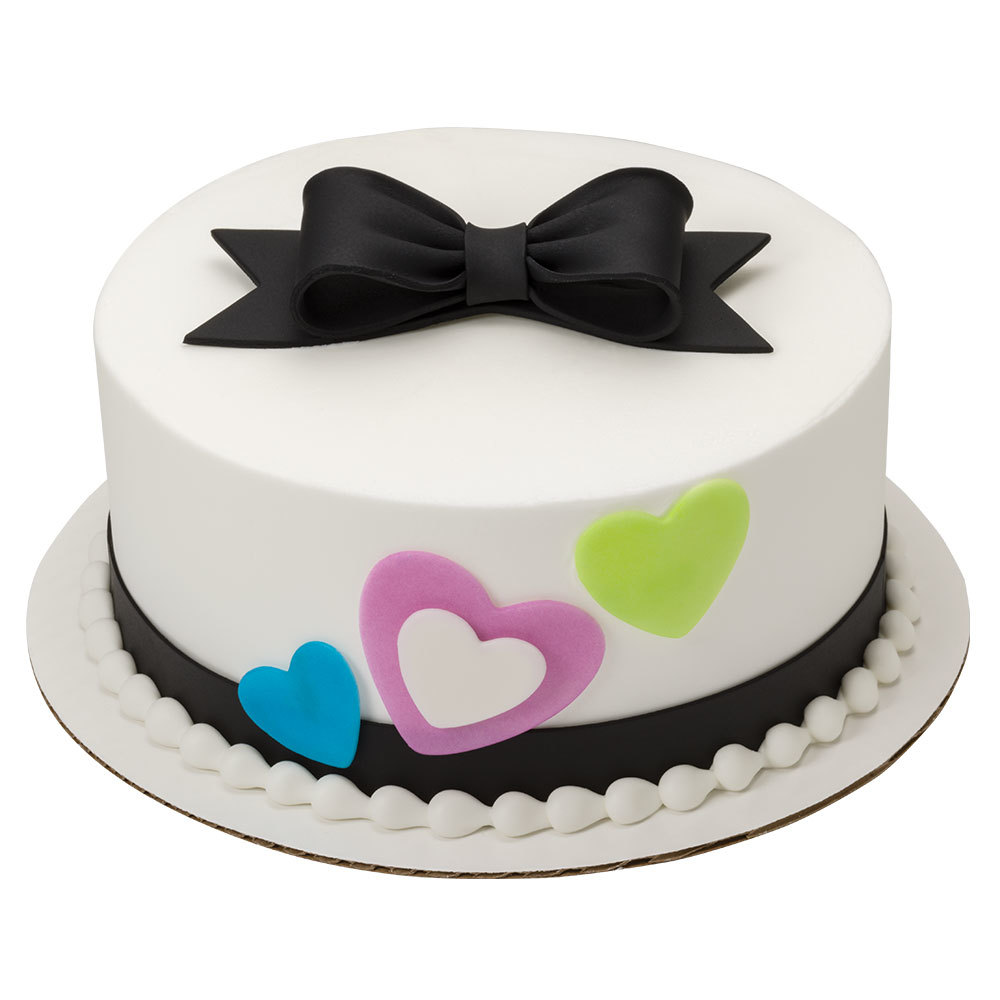 Glamorous Hearts DecoShapes and Gum Baste Round Cake