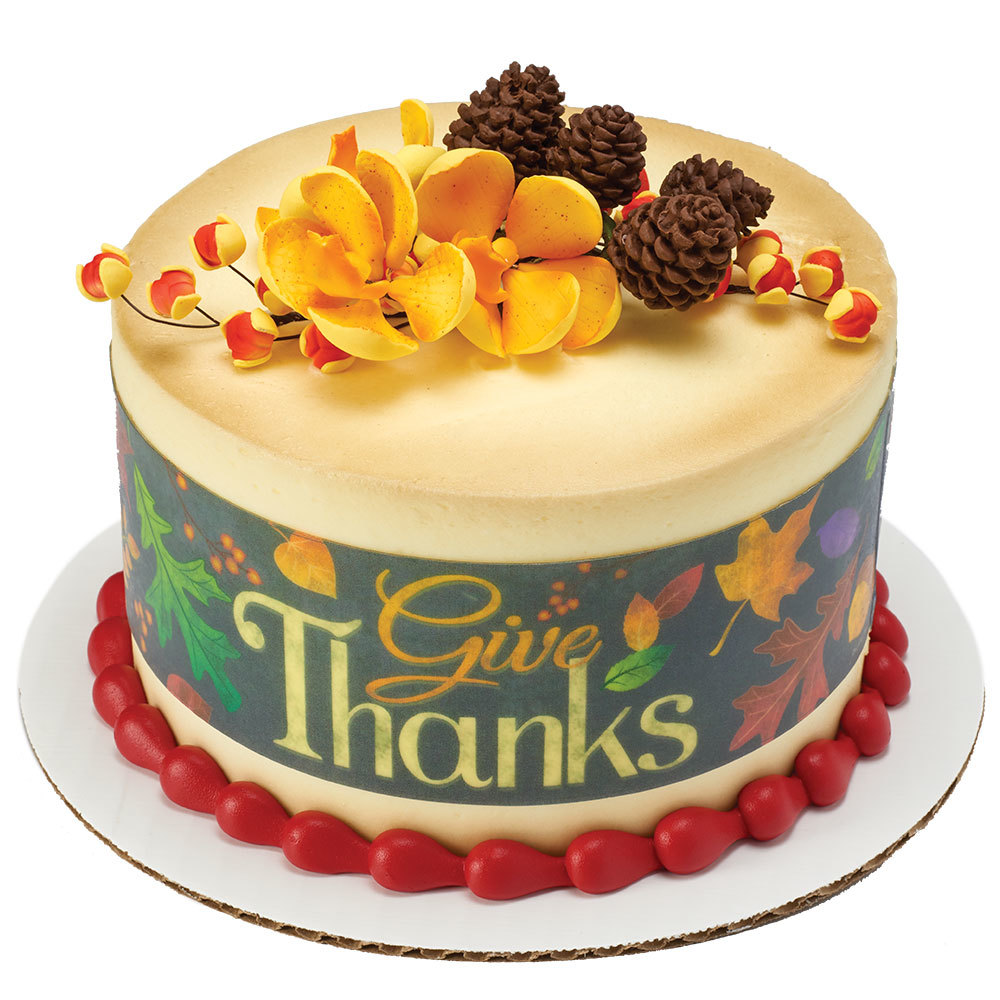 Give Thanks Round Cake Design