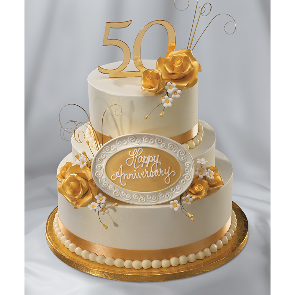Golden Anniversary Cake Decorations
