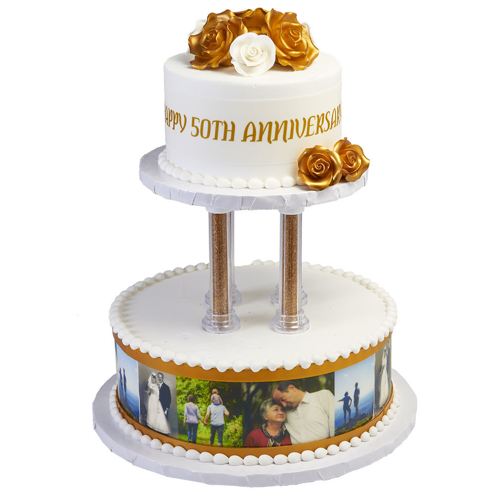 Golden Anniversary Tiered Cake Design