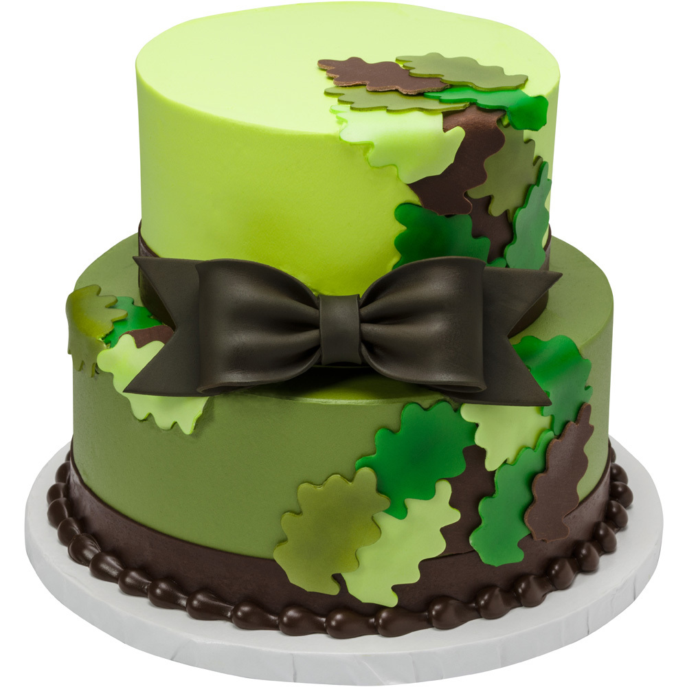 Green Camo Leaf Cut-Outs and Gum Paste Bow 2-Tier Round Cake Design
