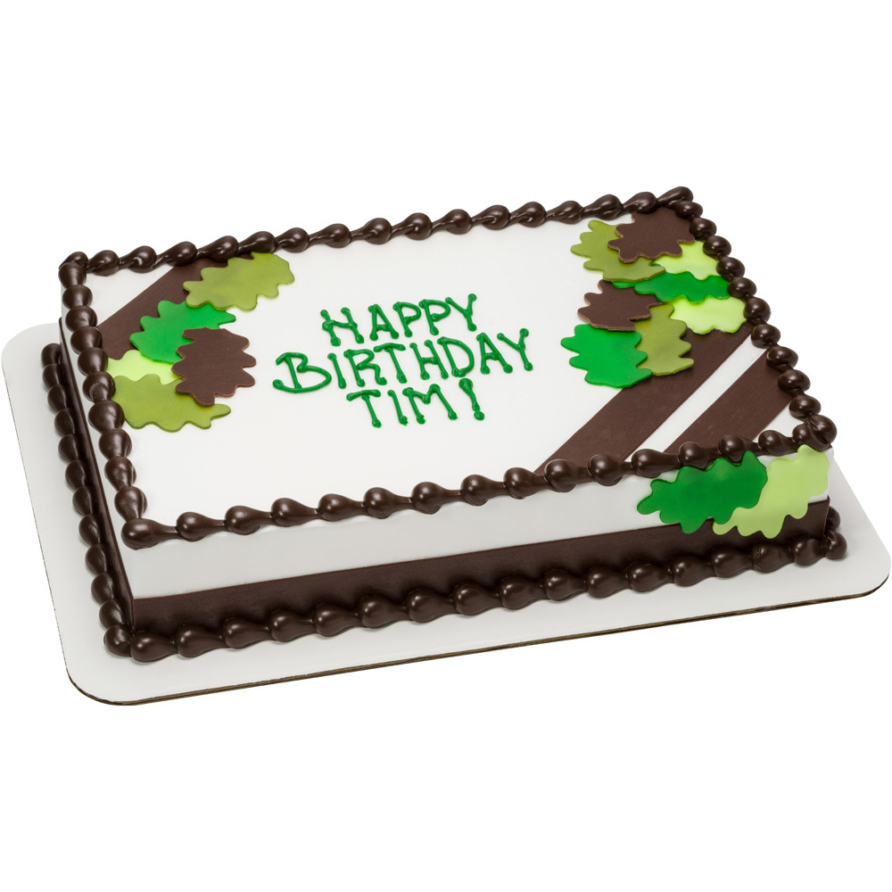 Green Camo Leaf Cut Outs Cake