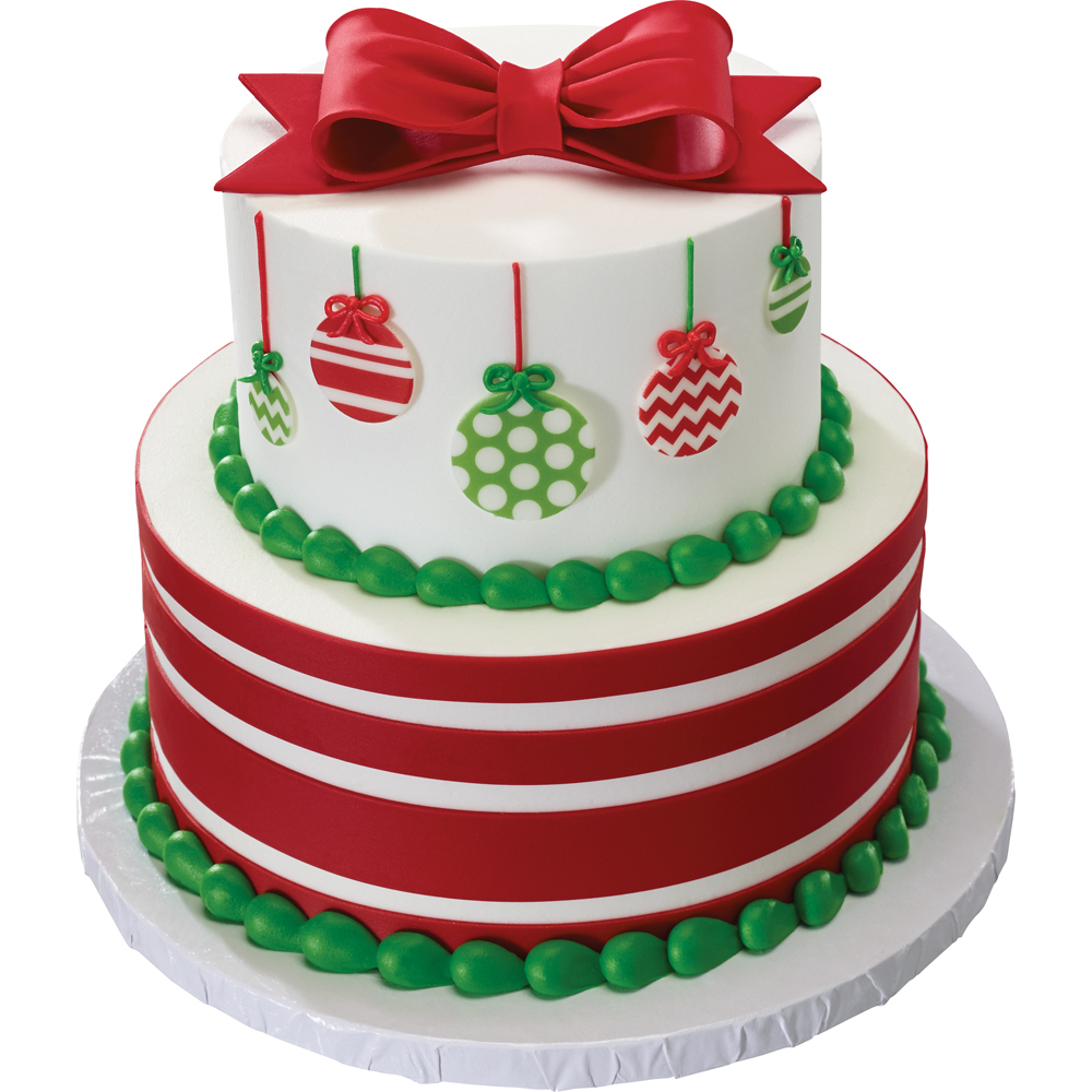 Gum Paste Bow and DecoShapes Ornaments Stacked Christmas Cake Design