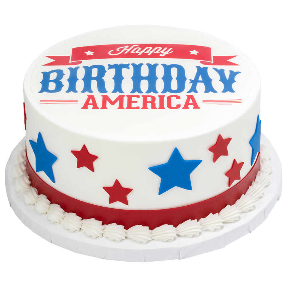"Happy Birthday America 8"" Round Cake Design"