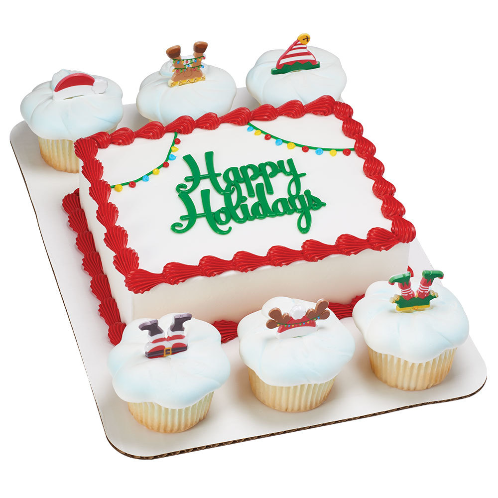 Happy Holidays Cake And Character Cupcake