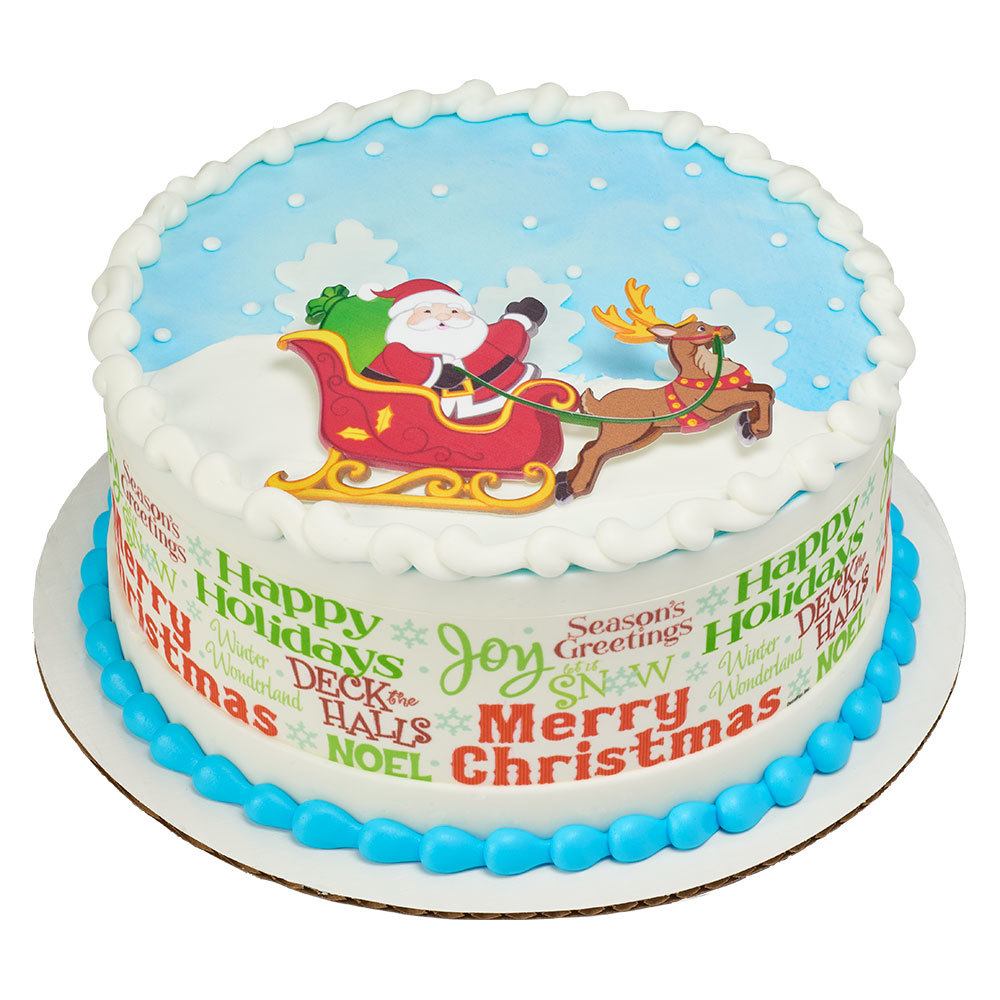 Happy Holidays, Santa! Round Cake Design