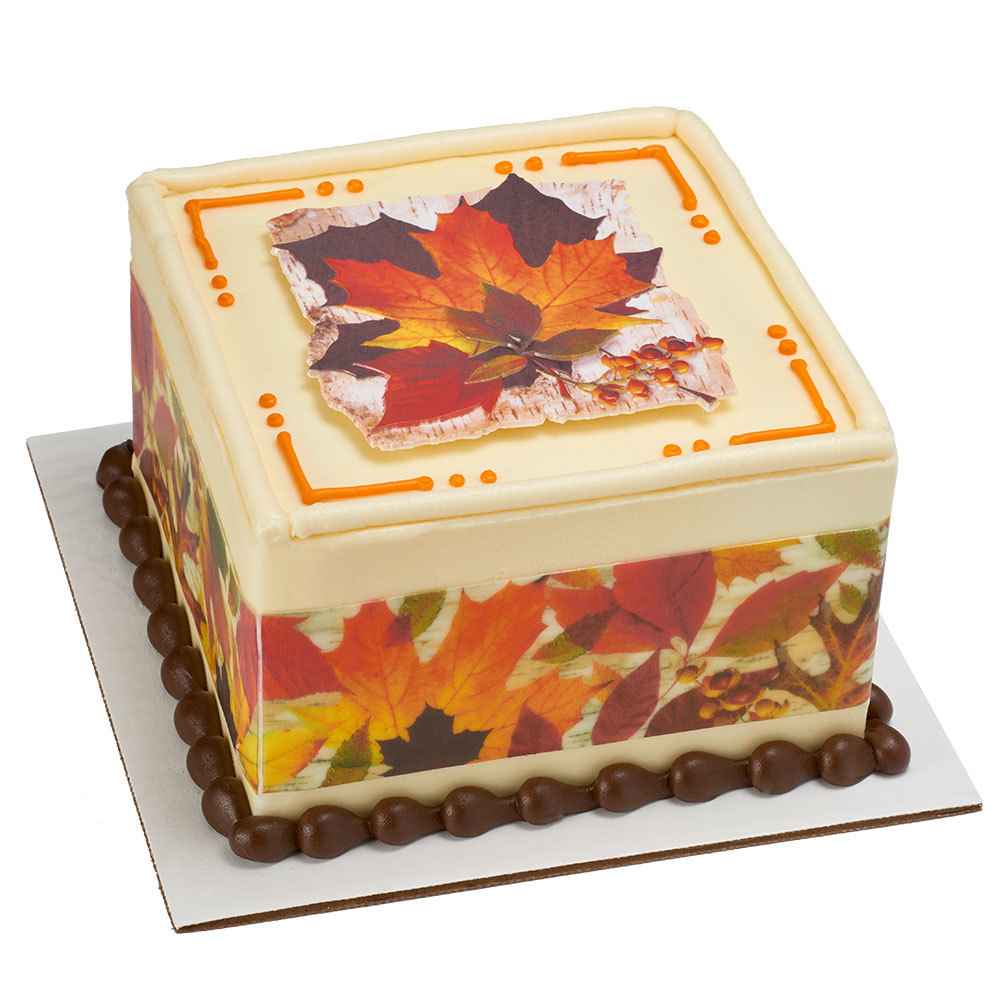 Harvest Leaves Square Cake Design