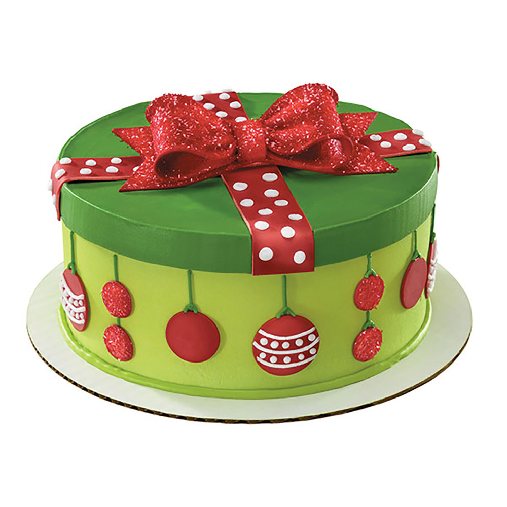 Holiday Dots Gift Box Round Cake Design