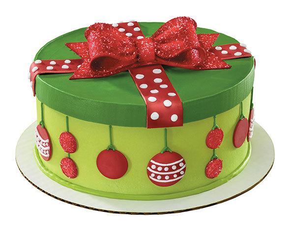 Holiday Dot Gift Box Cake Decorations