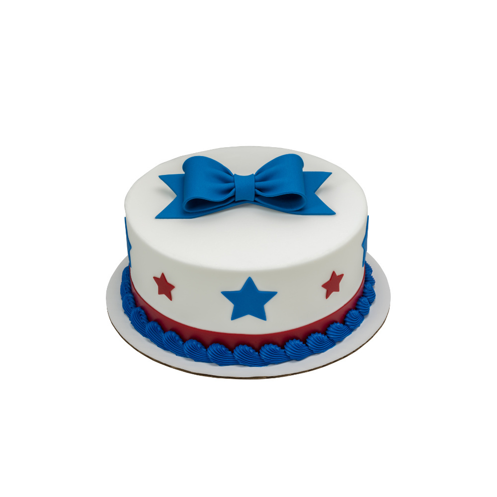 Independence Star DecoShapes and Gum Paste Bow Round Cake Design