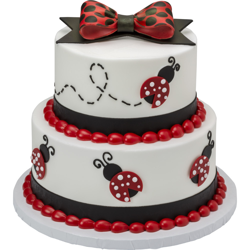 Lady Bugs DecoShapes® 2-Tiered Round Stacked Cake