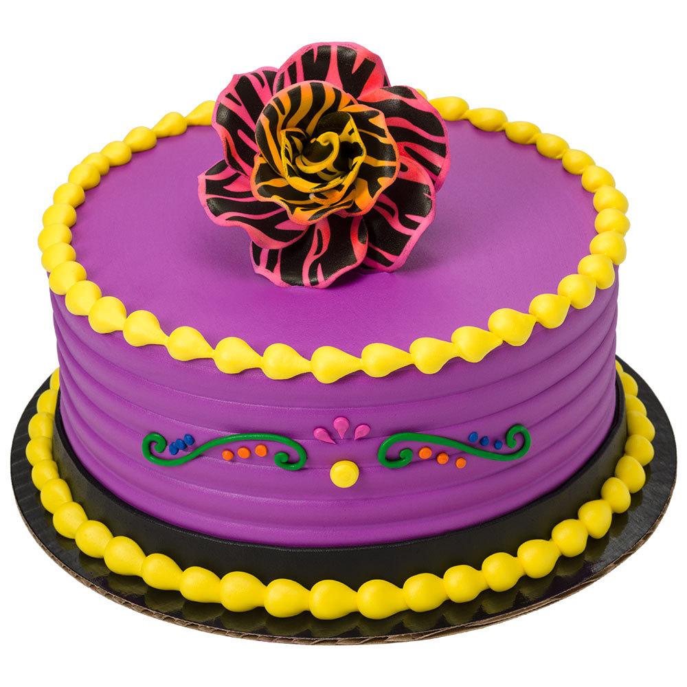 Leopard Print Gum Paste Rose Round Cake Design