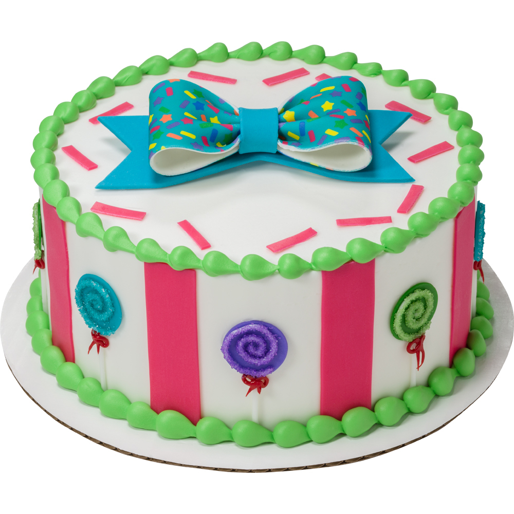 Lollipop DecoShapes and Gum Paste Bow Round Cake Design