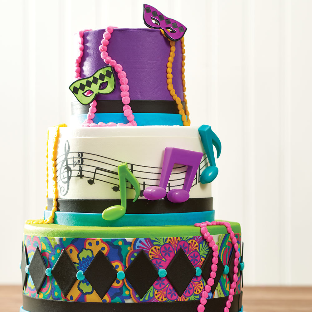 Mardi Gras Stacked Cake Design