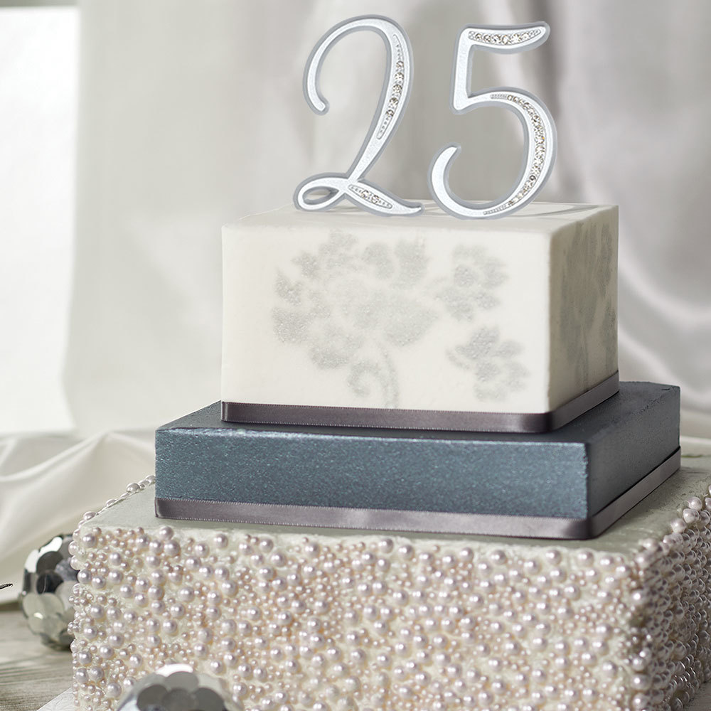 25th Wedding Anniversary Cake Ideas: Metallic Silver 25th Anniversary Cake Design
