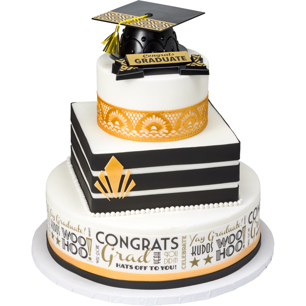 Modern Gatsby Stacked Graduation Cake Design
