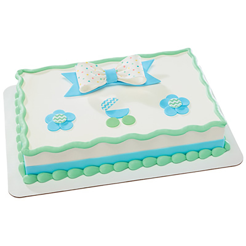 Pastel DecoShapes and Gum Paste Bow Quarter Sheet Fondant Cake