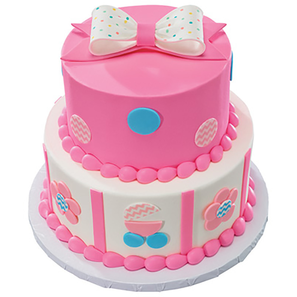 Pastel DecoShapes and Gum Paste Stacked Fondant Cake Design