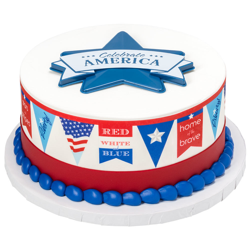 Patriotic Banner Cake Decorations
