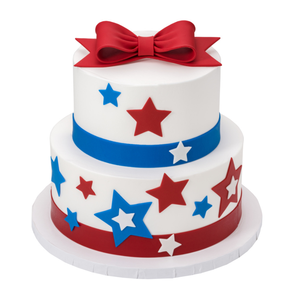 Patriotic DecoShapes and Gum Paste Bows 2-Tiered Cake Design