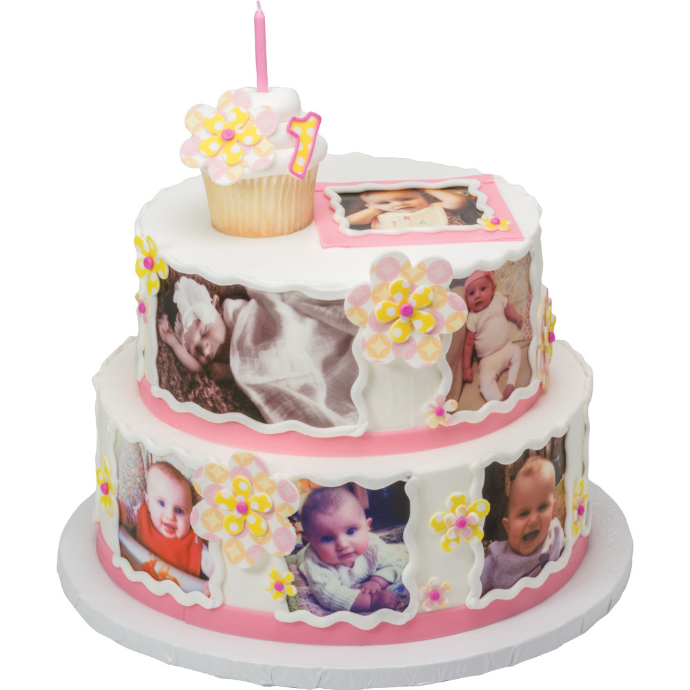 PhotoCake® 1st Birthday Photo Montage Cake Design