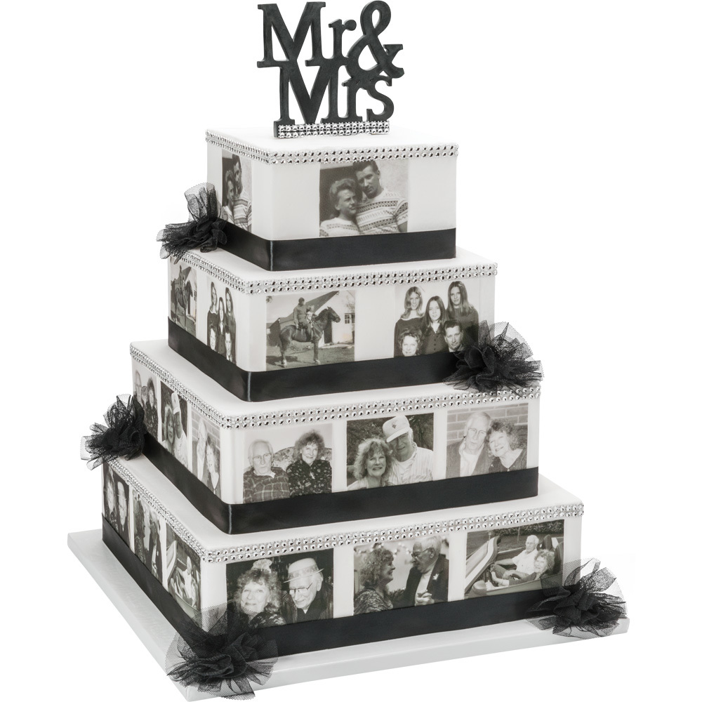 PhotoCake® Stacked Anniversary Montage Cake Design