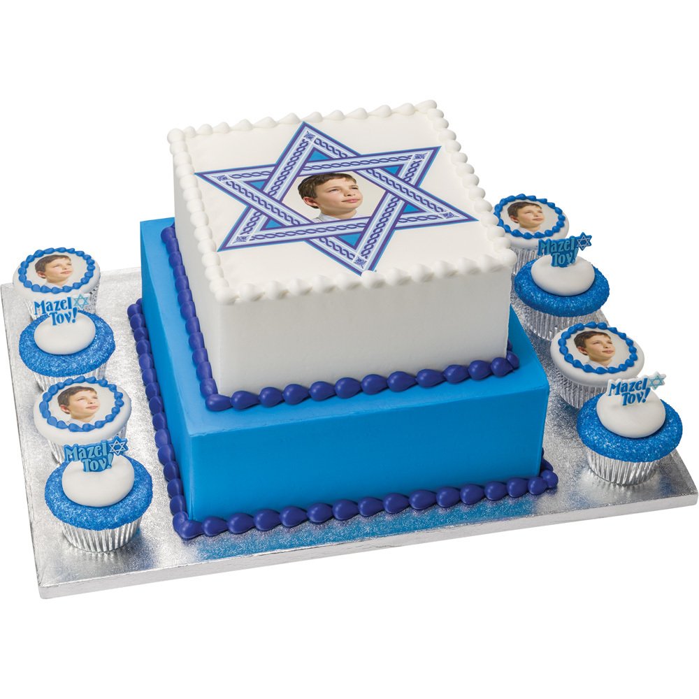 PhotoCake® Bar Mitzvah Square Stacked Cake with Cupcakes