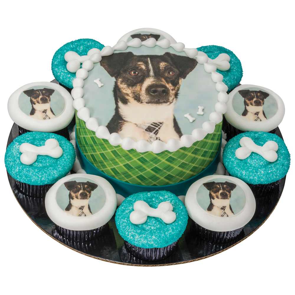 PhotoCake® Doggie Birthday Round Cake and Cupcakes