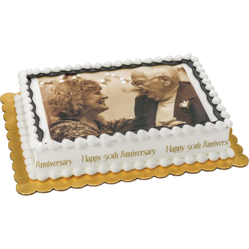 PhotoCake® Golden Annivesary 1/4 Sheet Cake Design