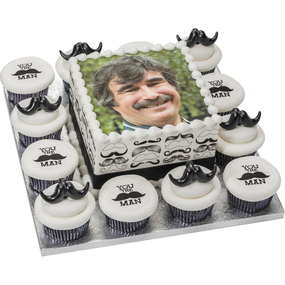 PhotoCake® Mustashe Celebration Square Cake with Cupcakes