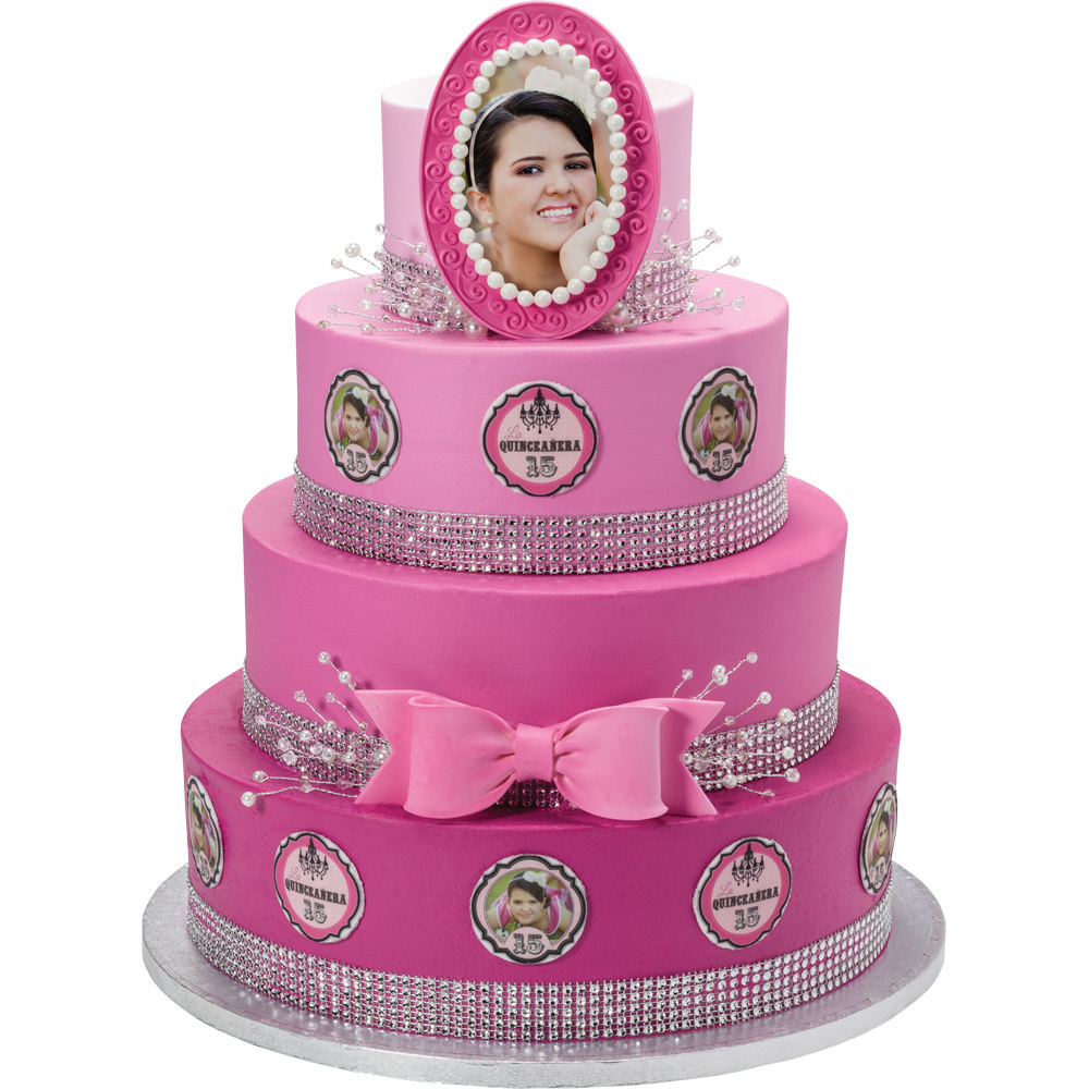 PhotoCake® Quinceanera Round Stacked Cake