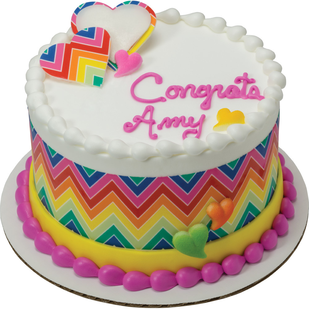 PhotoCake® Rainbow Chevron Congrats Cake Design